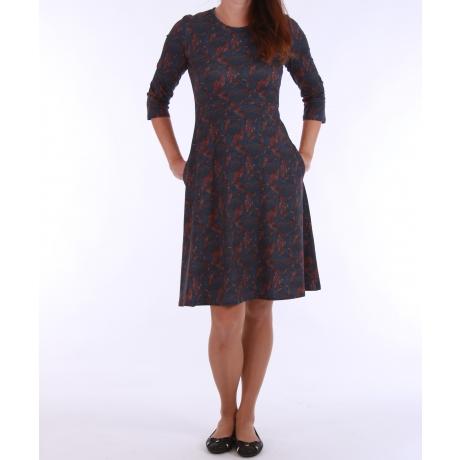 Tumesinine kleit sulgedega