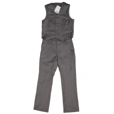 Virgin Wool Gray Trousers And Vest