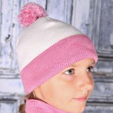 Roosa valge kirju müts, 100% MERIINOVILL
