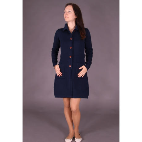 Navy Blue Cardigan, 100% Merino Wool