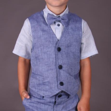 Blue Vest, 100% Linen