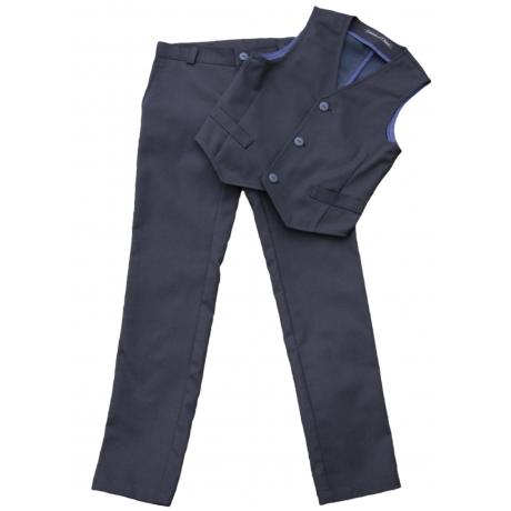 Mustad püksid ja vest tumesinise träpsuga