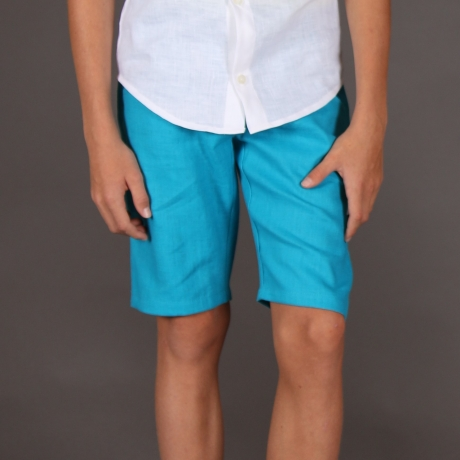 Turquoise Shorts, 100% Linen
