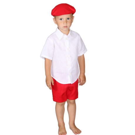 Red Shorts, 100% Linen