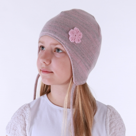 Pink/Gray Hat, 100% Merino Wool