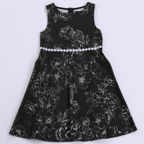Must kleit valgete lilledega