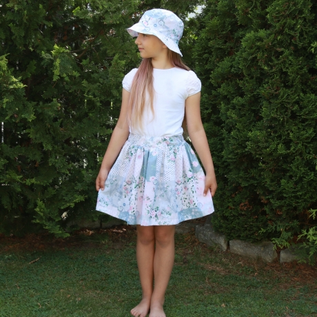 Light Blue Floral Skirt