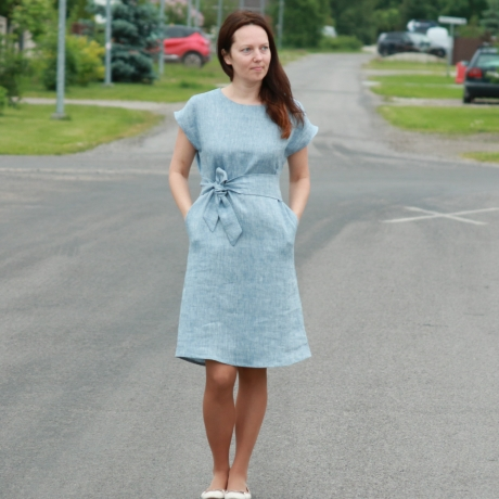 Light Blue Dress, 100% LINEN