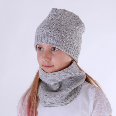 Gray Hat With Swarovski Cristals, 100% Merino Wool