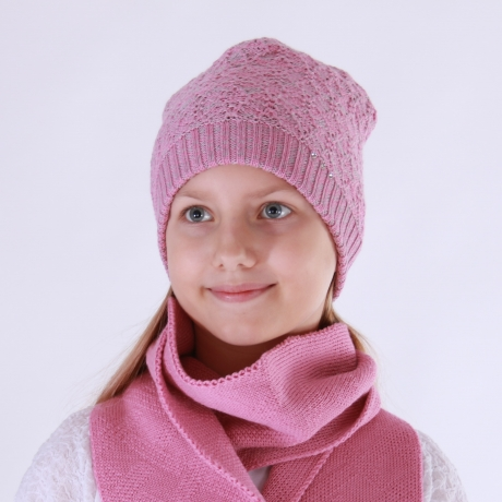 Gray-Pink Hat With Swarovsky Cristals, 100% Merino Wool