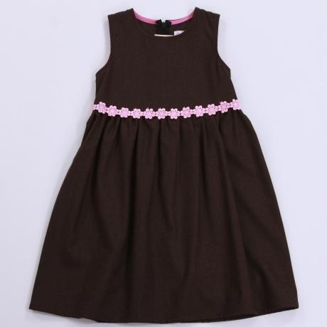 Dark Brown Woolen Dress With Pink Flowers