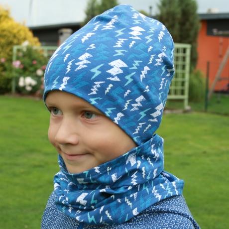 Sinine müts pimedas helendavate välkudega, kahekordne