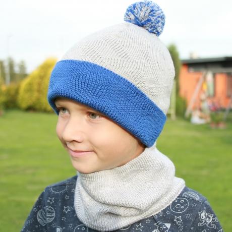 Sinise halli kirju müts, 100% MERIINOVILL