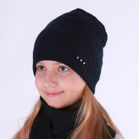Navy Blue Hat With Swarovsky Cristals, 100% Merino Wool