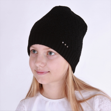 Black Hat With Swarovsky Cristals, 100% Merino Wool