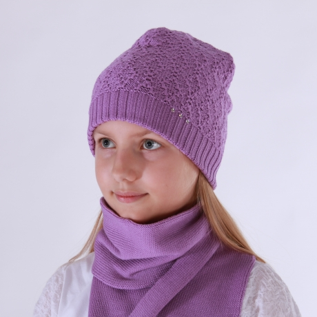 Purple Hat With Swarovsky Cristals, 100% Merino Wool