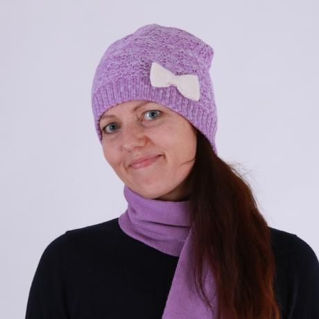 Purple-White Hat With Swarovsky Cristals, 100% Merino Wool