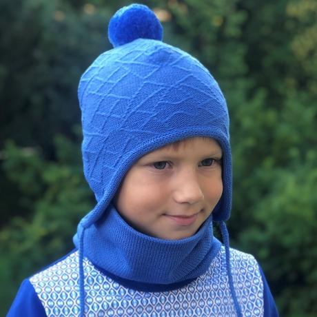 Sinine müts tuti ja paeltega, 100% meriinovill