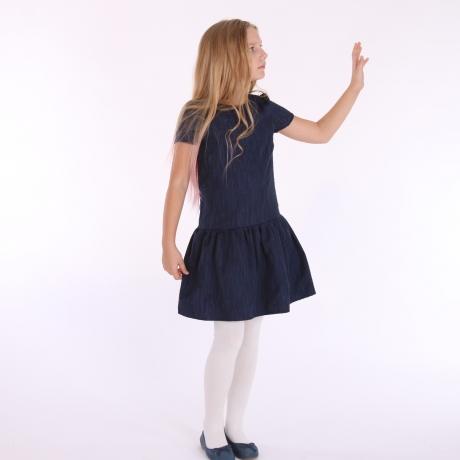Tumesinine kleit läikega