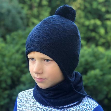 Navy Blue Hat, 100% Merino Wool