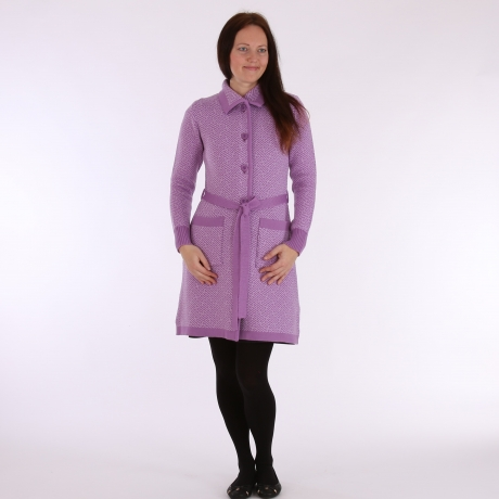 Purple Cardigan, 100% Merino Wool