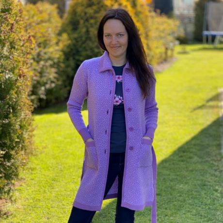 Purple Cardigan, 100% Merino Wool
