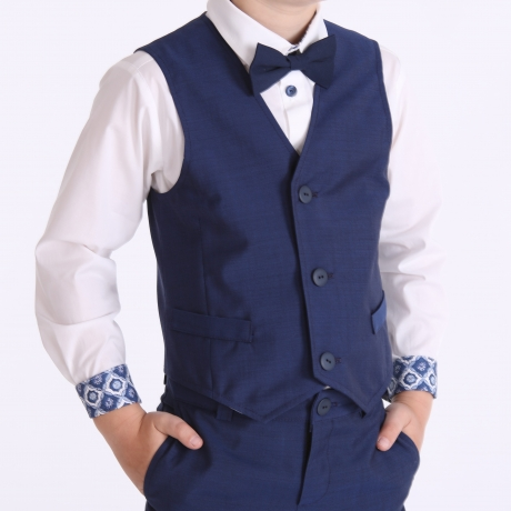 Blue Vest, 100% Virgin Wool