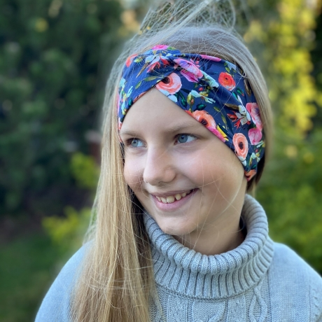 Navy Blue Floral Headband