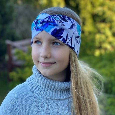 Headband With Blue Flowers
