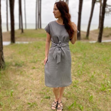 Gray Dress, 100% LINEN