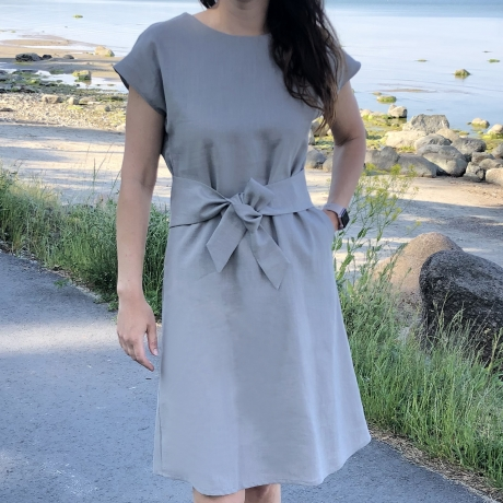 Light Gray Dress, 100% LINEN