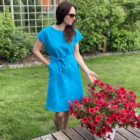 Turquoise Blue Dress, 100% LINEN