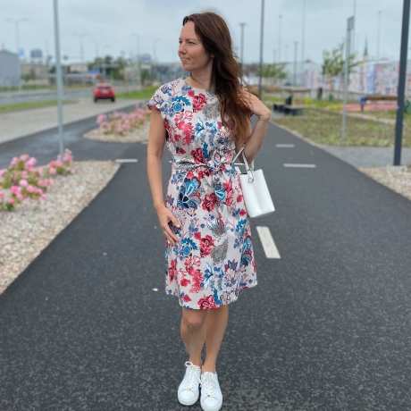 Floral Dress With A Belt