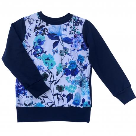 Navy Blue Floral Sweatshirt