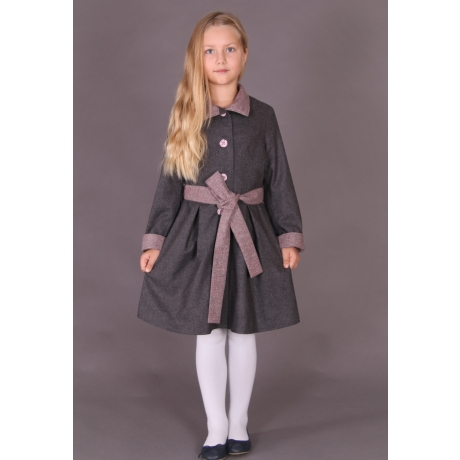 Dark Gray Coat With Pink Details