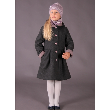 Dark Gray Wintercoat With Pink Details