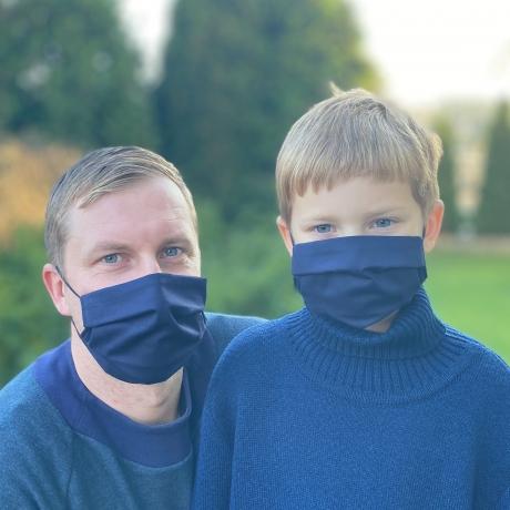 Face Mask, One Side Black / Other Side Navy Blue