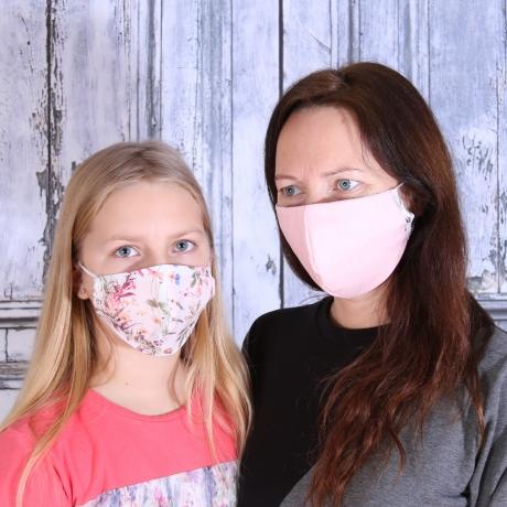 Face Mask, One Side Flowers / Other Side Pink (Adjustable Size!)