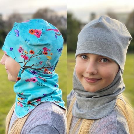 Tuukrimüts, linnud sinisel / hall, kahtepidi kantav! +5 kuni +15 °C