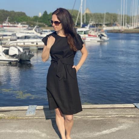 Black Linen Dress, 100% LINEN