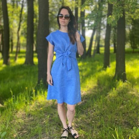 Blue Linen Dress, 100% LINEN