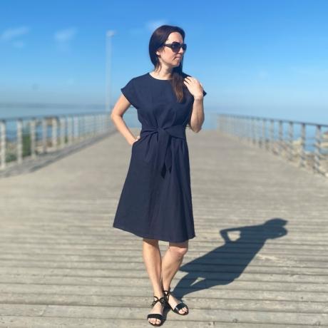 Navy Blue Linen Dress, 100% LINEN