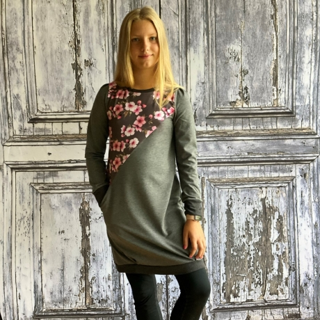 Gray Floral Sweatshirt Dress