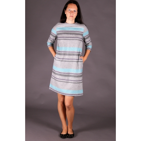 Gray Woolen Dress With Stripes