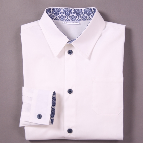 White shirt with blue details