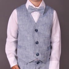 Light Blue Vest, 100% Linen