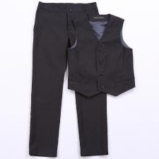 Tumesinised väikese mustriga püksid ja vest, 100% peenvill