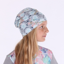 Sinakas pastelne müts lindude ja lilledega (ühekordne)