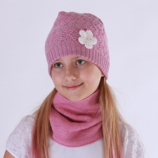 Gray-Pink Hat With Flower, 100% Merino Wool