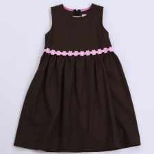 Dark Brown Woolen Dress With Pink Flowers